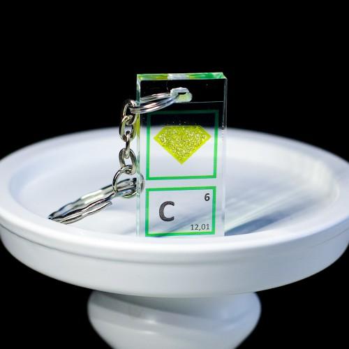 Carbon / diamond keychain
